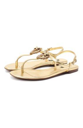 Женские кожаные сандалии DOLCE & GABBANA золотого цвета, арт. CQ0353/A1016 | Фото 1