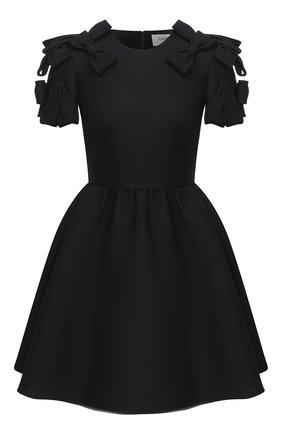 Женское платье из шерсти и шелка VALENTINO черного цвета, арт. UB3VAT911CF   Фото 1