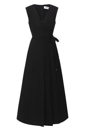 Женское платье из шерсти и шелка VALENTINO черного цвета, арт. UB3VASW01CF   Фото 1