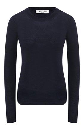 Женская пуловер из кашемира и шелка VALENTINO темно-синего цвета, арт. UB3KC16Z5S7 | Фото 1