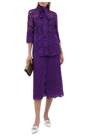 Женская блузка из вискозы и хлопка VALENTINO фиолетового цвета, арт. UB3AB18R1EC   Фото 2