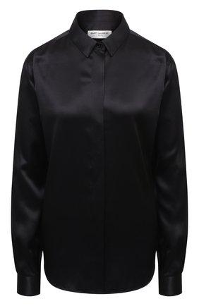 Женская шелковая рубашка SAINT LAURENT черного цвета, арт. 512192/Y070N | Фото 1