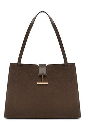 Женская сумка tara TOM FORD хаки цвета, арт. L1343T-LCL068   Фото 1 (Материал: Натуральная кожа; Размер: large; Сумки-технические: Сумки top-handle)