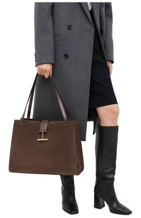 Женская сумка tara TOM FORD хаки цвета, арт. L1343T-LCL068   Фото 2 (Материал: Натуральная кожа; Размер: large; Сумки-технические: Сумки top-handle)