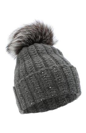 Женский кашемировая шапка WILLIAM SHARP темно-серого цвета, арт. A106-1/SILVER F0X NATURAL | Фото 1