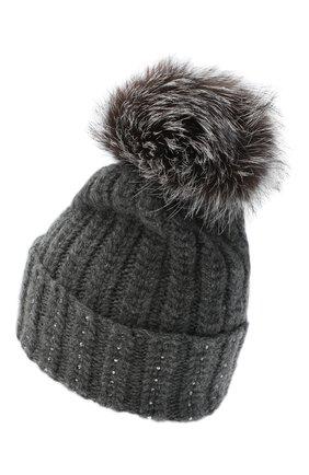 Женский кашемировая шапка WILLIAM SHARP темно-серого цвета, арт. A106-1/SILVER F0X NATURAL | Фото 2