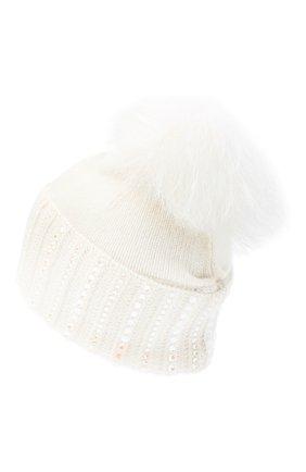 Женский кашемировая шапка WILLIAM SHARP белого цвета, арт. A107-2/BLEACHED RAC00N | Фото 2