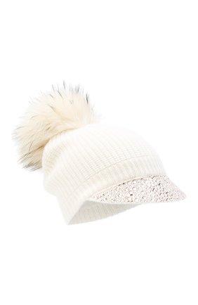 Женский кашемировая шапка WILLIAM SHARP белого цвета, арт. A119-2/PALE RAC00N NATURAL | Фото 1