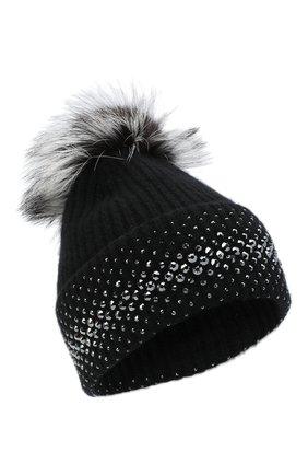 Женский кашемировая шапка WILLIAM SHARP черного цвета, арт. A12-13/SILVER F0X NATURAL | Фото 1