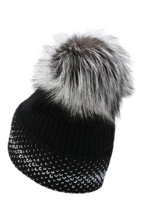 Женский кашемировая шапка WILLIAM SHARP черного цвета, арт. A12-13/SILVER F0X NATURAL | Фото 2