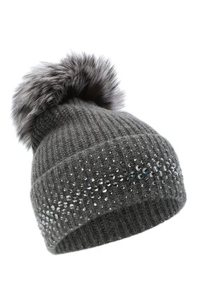 Женский кашемировая шапка WILLIAM SHARP темно-серого цвета, арт. A12-13/SILVER F0X NATURAL | Фото 1