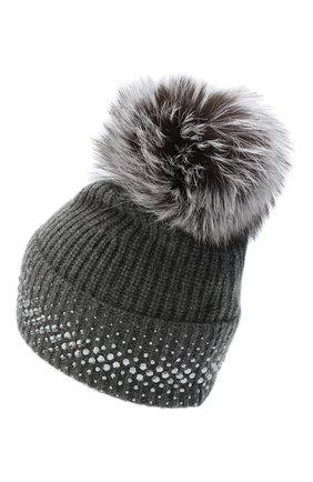 Женский кашемировая шапка WILLIAM SHARP темно-серого цвета, арт. A12-13/SILVER F0X NATURAL | Фото 2