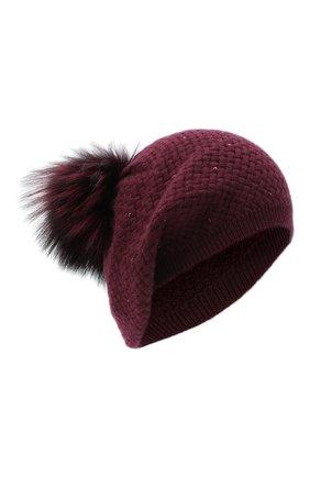 Женский кашемировая шапка WILLIAM SHARP бордового цвета, арт. A32-15/SILVER F0X DYED | Фото 1