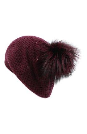 Женский кашемировая шапка WILLIAM SHARP бордового цвета, арт. A32-15/SILVER F0X DYED | Фото 2