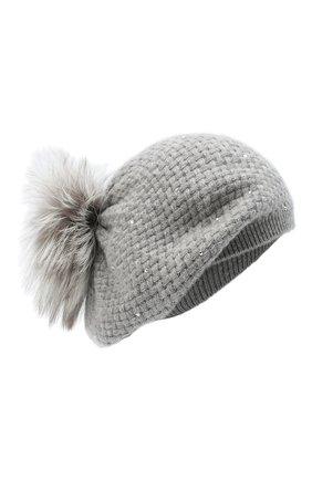 Женский кашемировая шапка WILLIAM SHARP серого цвета, арт. A32-15/PEARL F0X NATURAL | Фото 1