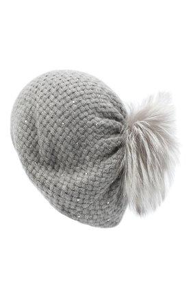 Женский кашемировая шапка WILLIAM SHARP серого цвета, арт. A32-15/PEARL F0X NATURAL | Фото 2