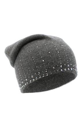 Женский кашемировая шапка WILLIAM SHARP темно-серого цвета, арт. HT 19-52 | Фото 1