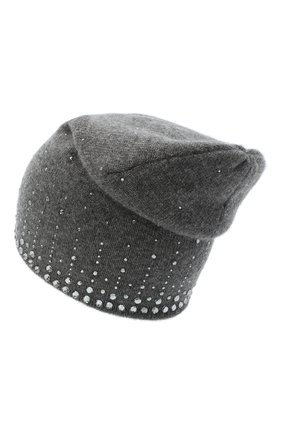 Женский кашемировая шапка WILLIAM SHARP темно-серого цвета, арт. HT 19-52 | Фото 2