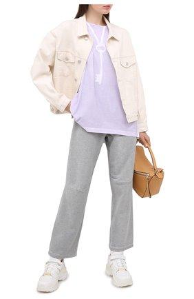 Женская хлопковая футболка MM6 сиреневого цвета, арт. S52GC0167/S23588 | Фото 2
