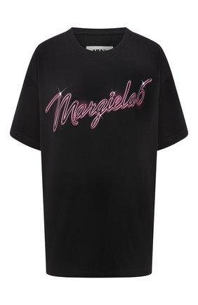 Женская хлопковая футболка MM6 черного цвета, арт. S52GC0169/S23588 | Фото 1