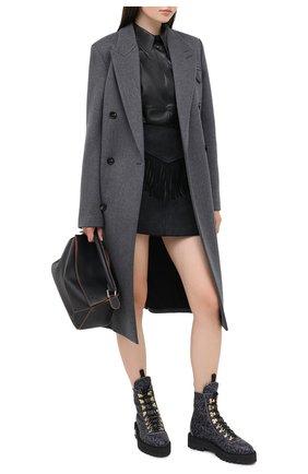 Женская шерстяная юбка MM6 черного цвета, арт. S52MA0103/S52207 | Фото 2