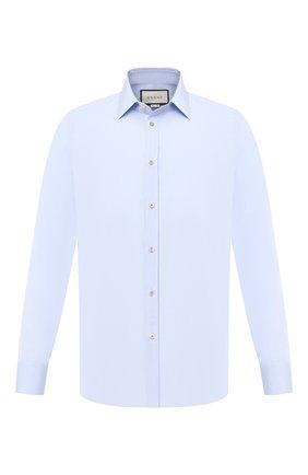 Мужская хлопковая рубашка GUCCI голубого цвета, арт. 625884/Z3854 | Фото 1