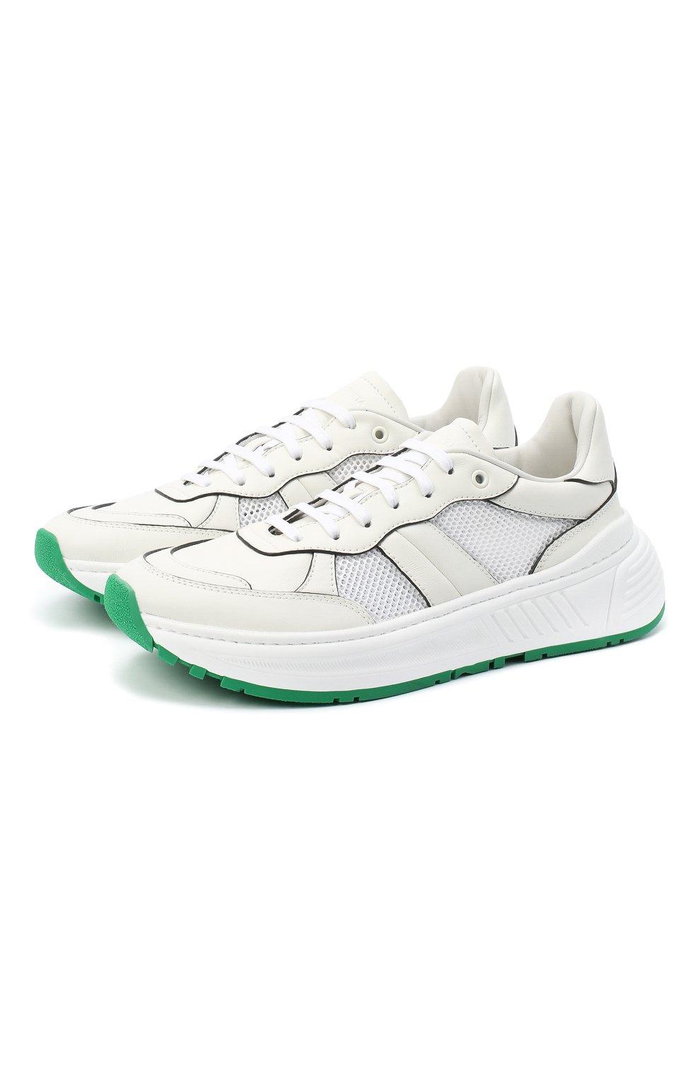 Мужские комбинированные кроссовки BOTTEGA VENETA белого цвета, арт. 565646/VJE21   Фото 1 (Материал внутренний: Натуральная кожа; Подошва: Массивная)