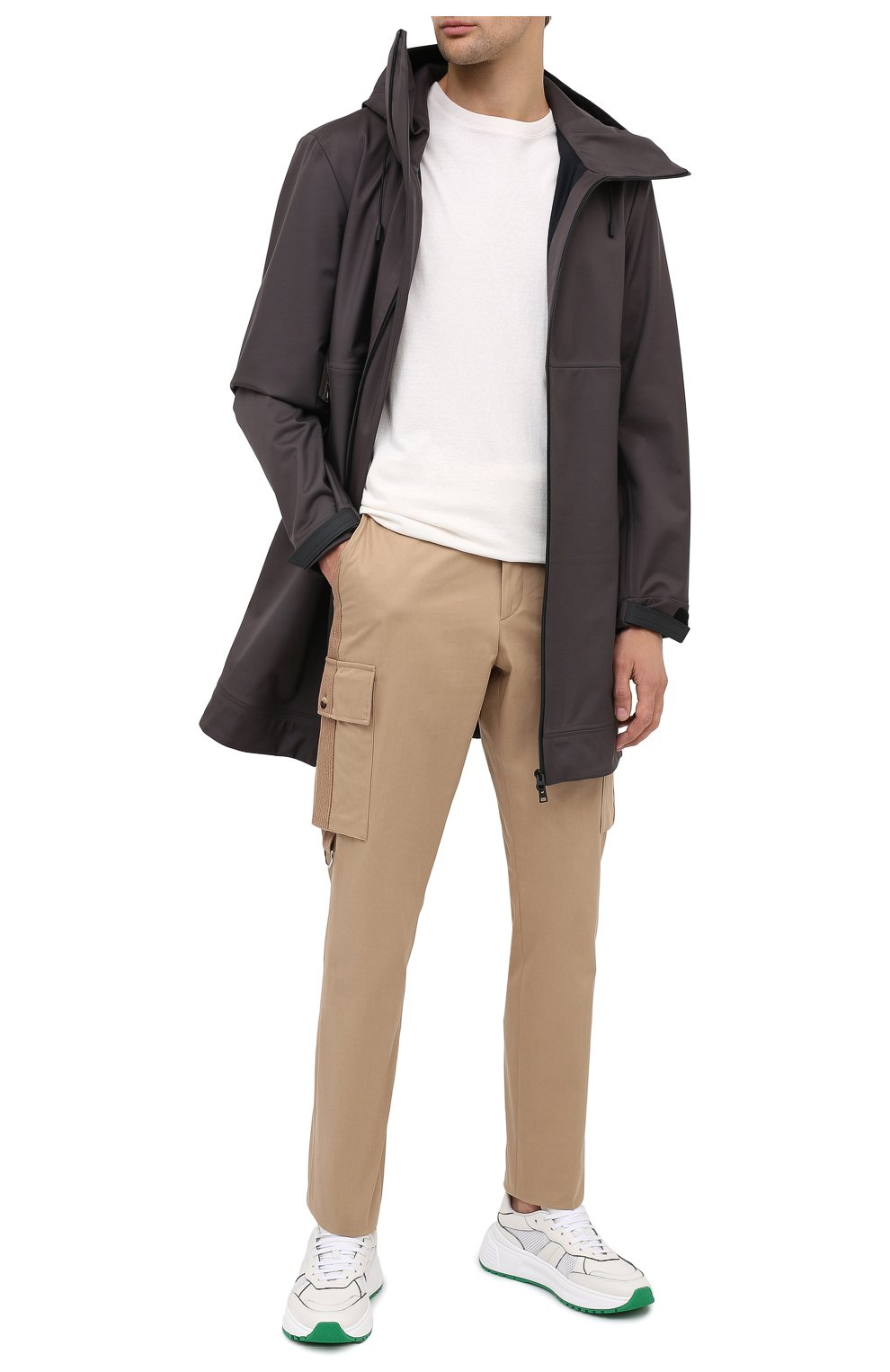 Мужские комбинированные кроссовки BOTTEGA VENETA белого цвета, арт. 565646/VJE21   Фото 2 (Материал внутренний: Натуральная кожа; Подошва: Массивная)