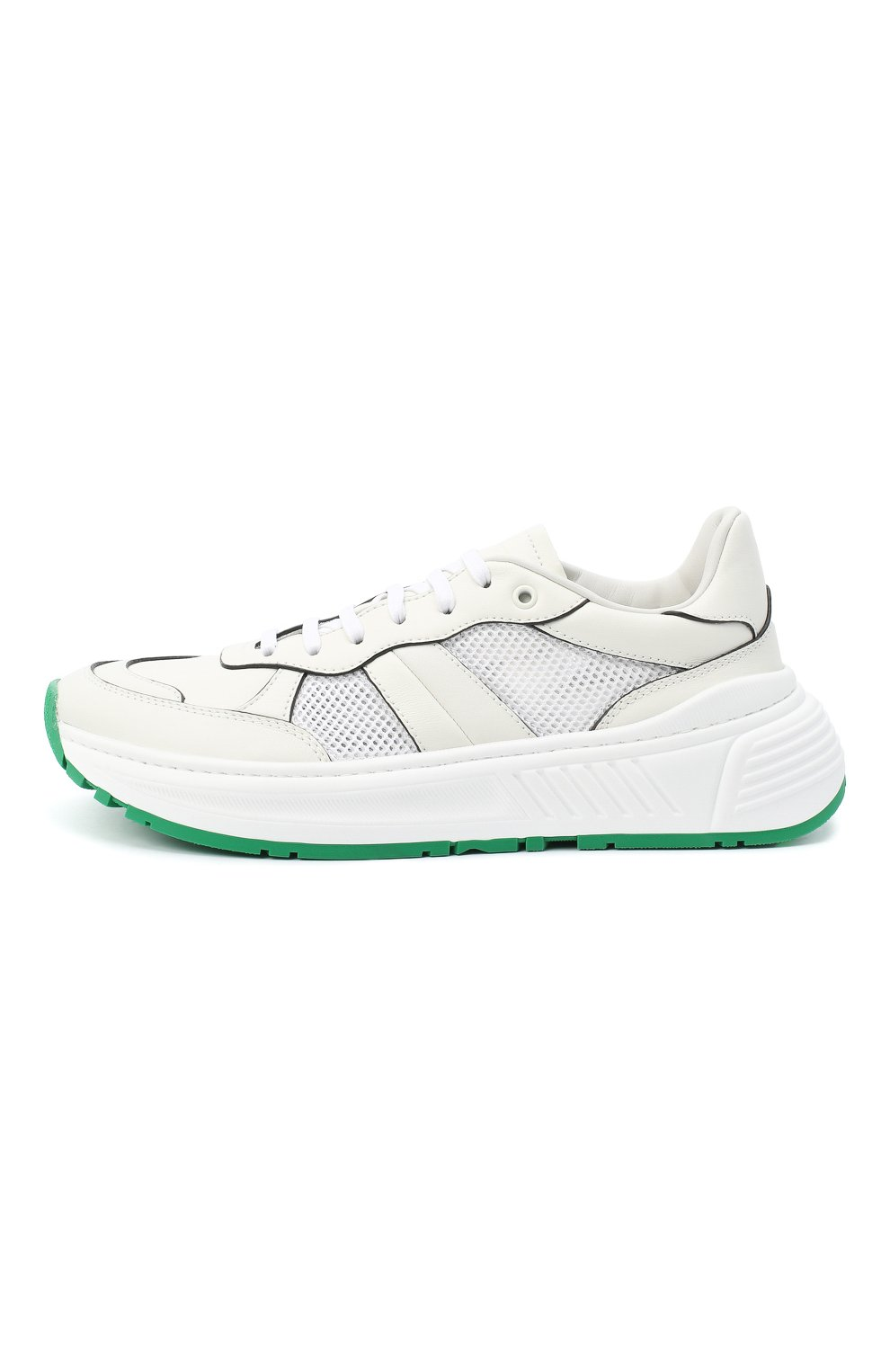 Мужские комбинированные кроссовки BOTTEGA VENETA белого цвета, арт. 565646/VJE21   Фото 3 (Материал внутренний: Натуральная кожа; Подошва: Массивная)