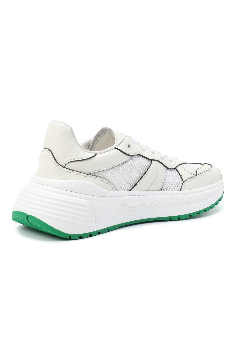 Мужские комбинированные кроссовки BOTTEGA VENETA белого цвета, арт. 565646/VJE21   Фото 4 (Материал внутренний: Натуральная кожа; Подошва: Массивная)