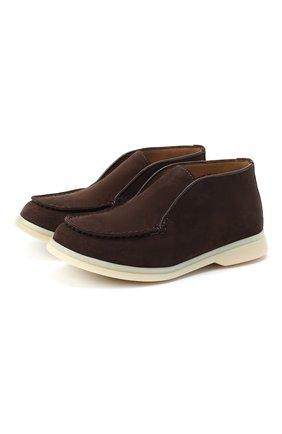 Детские замшевые ботинки LORO PIANA темно-коричневого цвета, арт. FAD6916 | Фото 1