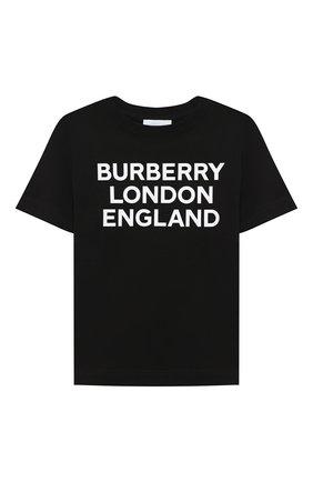 Детская хлопковая футболка BURBERRY черного цвета, арт. 8028809 | Фото 1