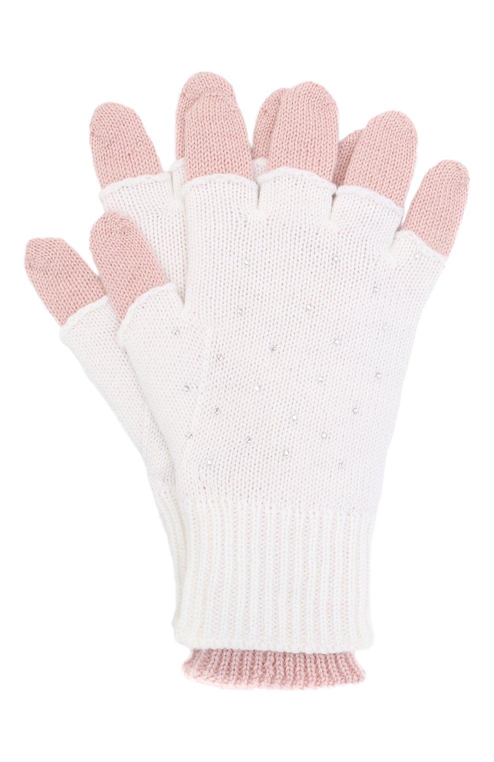 Детские шерстяные перчатки IL TRENINO белого цвета, арт. 20 8016/E0 | Фото 1