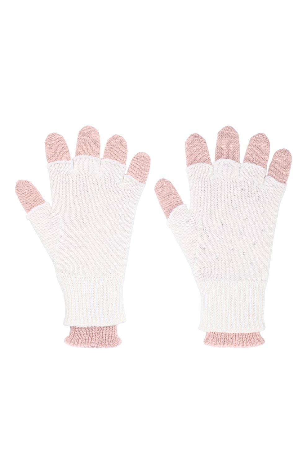 Детские шерстяные перчатки IL TRENINO белого цвета, арт. 20 8016/E0 | Фото 2