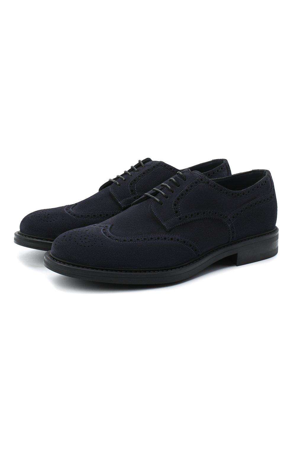 Мужские замшевые дерби W.GIBBS синего цвета, арт. 3169007/2301 | Фото 1 (Мужское Кросс-КТ: Броги-обувь; Стили: Классический; Материал внутренний: Текстиль; Материал внешний: Замша)
