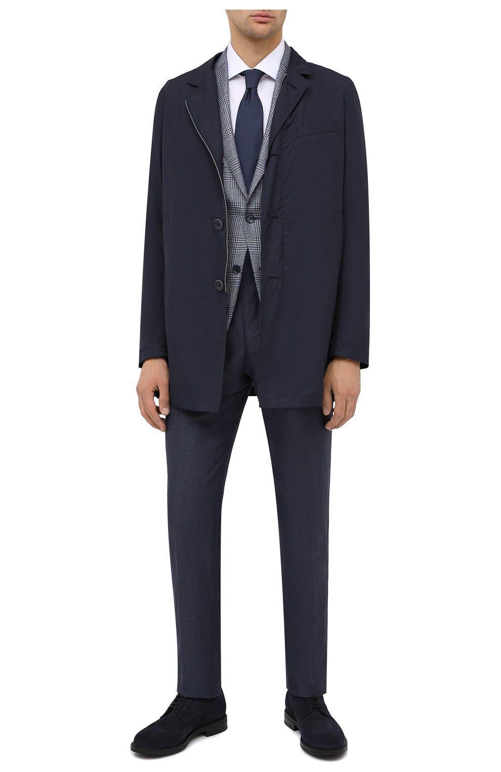 Мужские замшевые дерби W.GIBBS синего цвета, арт. 3169007/2301 | Фото 2 (Мужское Кросс-КТ: Броги-обувь; Стили: Классический; Материал внутренний: Текстиль; Материал внешний: Замша)