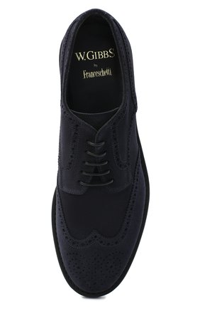 Мужские замшевые дерби W.GIBBS синего цвета, арт. 3169007/2301 | Фото 5 (Мужское Кросс-КТ: Броги-обувь; Стили: Классический; Материал внутренний: Текстиль; Материал внешний: Замша)