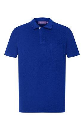 Мужское хлопковое поло RALPH LAUREN синего цвета, арт. 790786064 | Фото 1