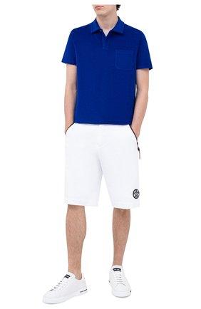Мужское хлопковое поло RALPH LAUREN синего цвета, арт. 790786064 | Фото 2
