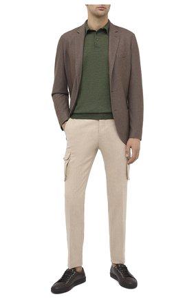 Мужское поло из смеси кашемира и шелка CRUCIANI темно-зеленого цвета, арт. CU487B.P01F6V   Фото 2