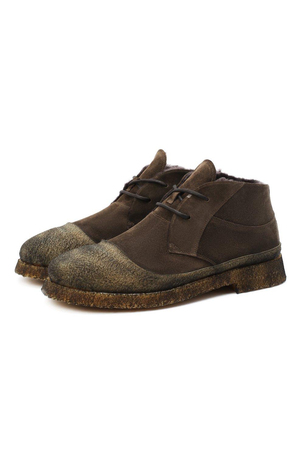 Мужские комбинированные ботинки ROCCO P. коричневого цвета, арт. 9300/SENS0RY   Фото 1