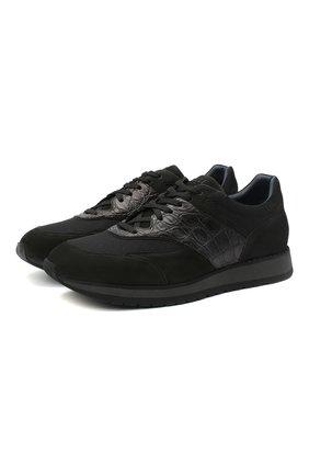 Мужские кроссовки с отделкой из кожи каймана ZILLI черного цвета, арт. MDU-T133/003 | Фото 1