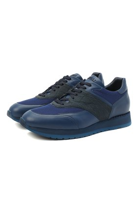 Мужские кроссовки с отделкой из кожи каймана ZILLI синего цвета, арт. MDU-T133/004 | Фото 1