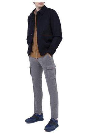Мужские кроссовки с отделкой из кожи каймана ZILLI синего цвета, арт. MDU-T133/004 | Фото 2