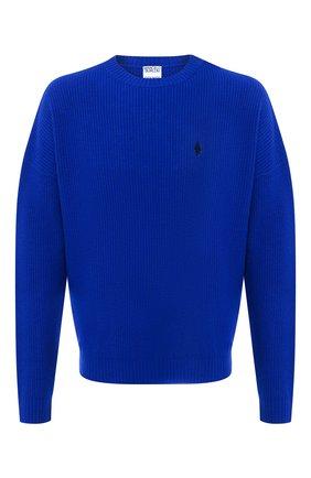 Мужской шерстяной свитер MARCELO BURLON синего цвета, арт. CMHE026F20KNI001   Фото 1