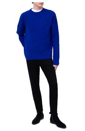 Мужской шерстяной свитер MARCELO BURLON синего цвета, арт. CMHE026F20KNI001 | Фото 2