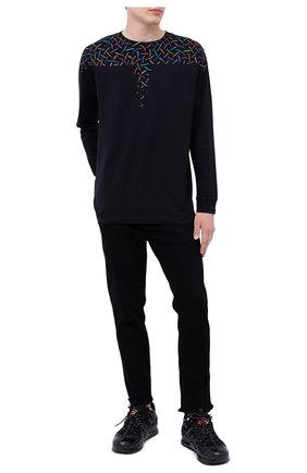 Мужская хлопковый лонгслив MARCELO BURLON черного цвета, арт. CMAB007F20JER003   Фото 2