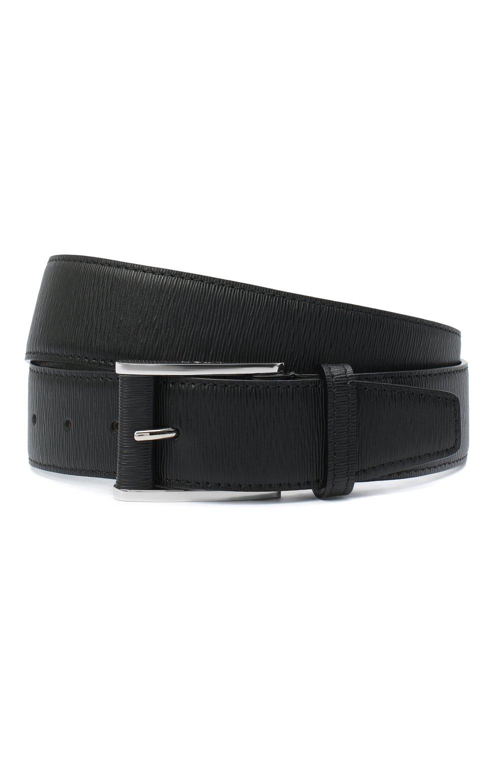 Мужской кожаный ремень KITON черного цвета, арт. USC7140N00709   Фото 1 (Случай: Формальный)