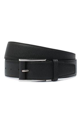 Мужской кожаные ремень KITON черного цвета, арт. USC7140N00709 | Фото 1