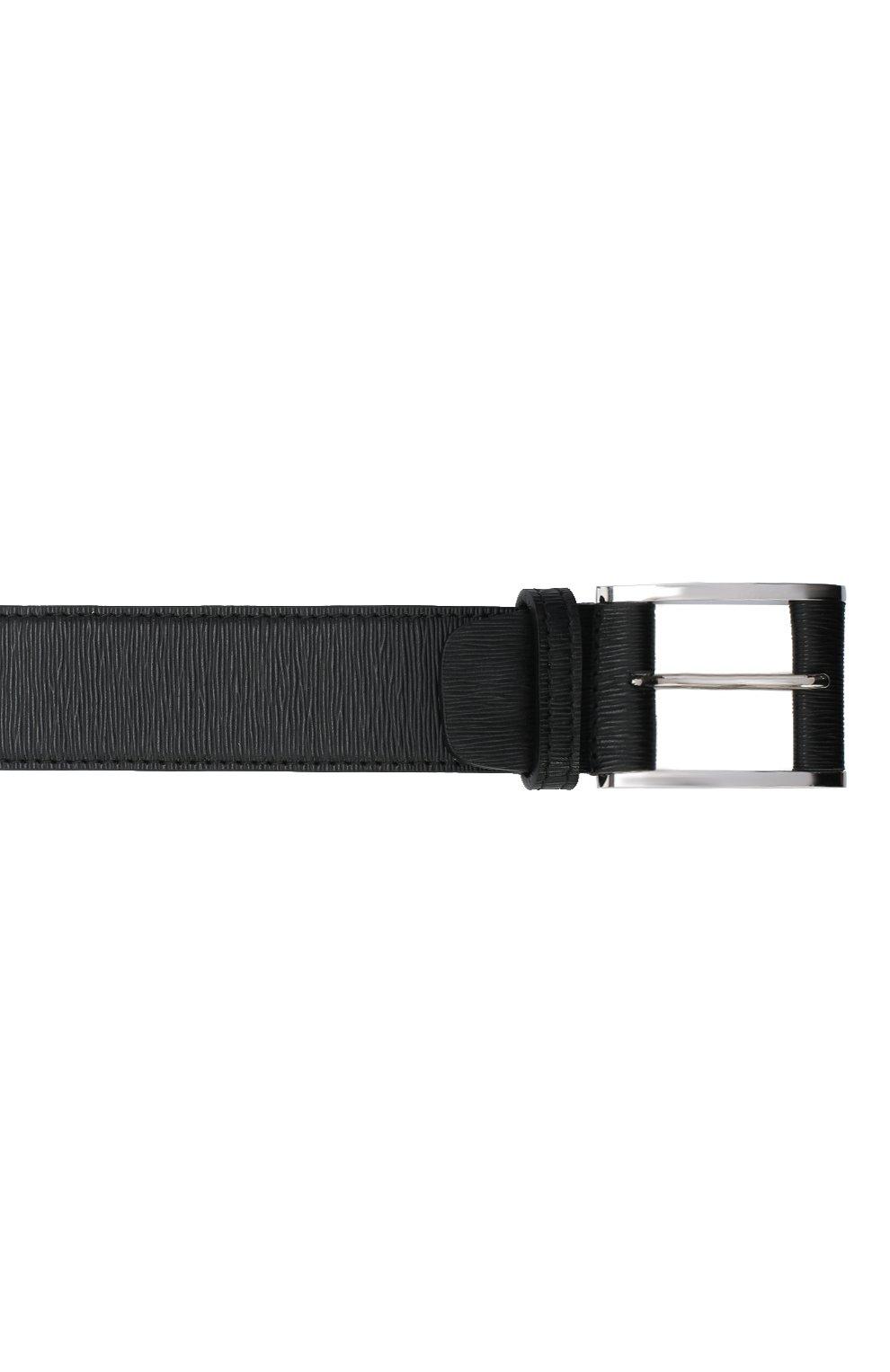 Мужской кожаный ремень KITON черного цвета, арт. USC7140N00709   Фото 3 (Случай: Формальный)
